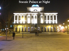 Staszic Palace at Night
